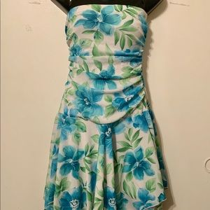 City Triangles Strapless Blue & Green Floral Dress